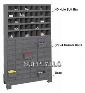 Steel Bin Shelving 40 Pigeonhole 2 24 Drawer Combo Cabinet Garage Shop
