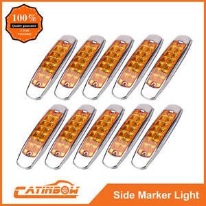10pc Amber 12 Led Sealed Side Marker Clearance Light Fish Shape Freightliner