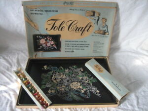 Vintage Tole Craft Tray Roses Flowers Paint By Number Partially Painted In Box