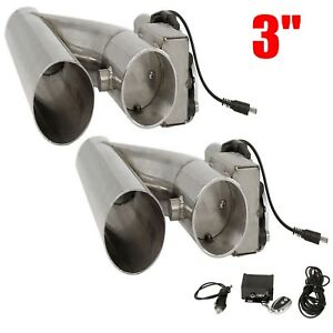 2pcs 3 E Cutout Cutout Valve System Kit Electric Exhaust Downpipe Remote New