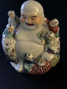 Antique Chinese Buddha Porcelain Laughing Famille Rose 10 19th 20th C Marked