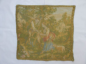 Vintage French Beautiful Verdure Scene Tapestry 45x43cm T613