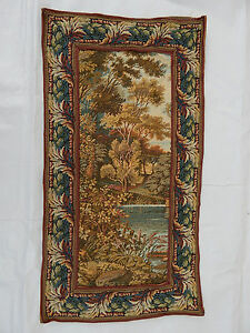 Vintage French Beautiful Verdure Scene Tapestry 54x28cm T606