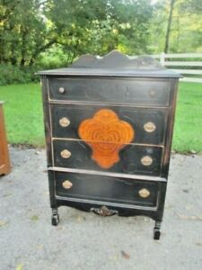 Antique Chest Of Drawers Dresser Hand Painted Black