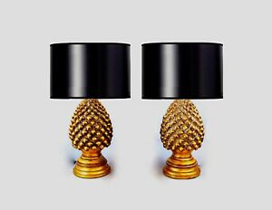 Hollywood Regency Gilt Pinya Pinecone Lamps A Pair