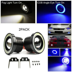 High Power Led Projector Fog Light W Blue Cob Halo Angel Eye Ring For