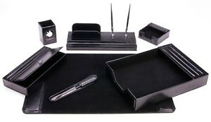Majestic Goods 7 Piece Black Leather Desk Set 105 dsg7k