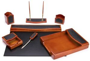 Majestic Goods 7 Pcs Brown Oak W Black Eco friendly Leather Pu Desk Set w401