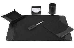 Majestic Goods 6 Piece Crocodile Black Leather Desk Set