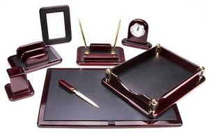 Majestic Goods Dark Mahogany Oak With Black Eco friendly Leather Finish Desk Set