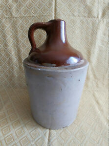 Antique Vintage Stoneware Whiskey Jug Bottle Primitive Moonshine Liquor Bourbon