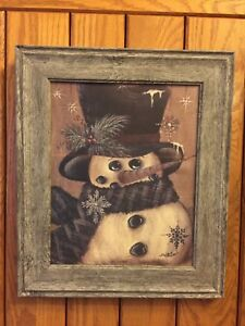 Handmade Primitive Rustic Framed Frosty Snowman Snowflake Winter Picture Decor