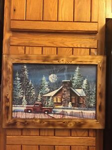 Handmade Primitive Framed Red Truck Log Cabin House Snowman Winter Picture Decor