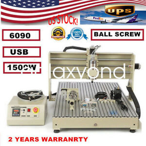 1500w 4 Axis Usb Cnc6090 Router Engraver Engraving Milling Machine Cooling Sys
