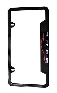 Porsche License Plate Stainless Steel Frame With Carbon Fiber Finished