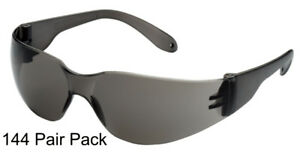 144 Pair Pack Protective Safety Glasses Grey Smoke Lens Work Uv400