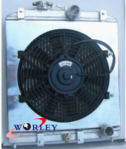 4 Row For 1992 2000 Honda Civic Ek Eg B16 B18 Aluminum Radiator Shroud Fan