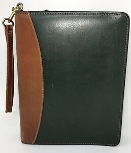 Franklin Quest Brown Green Leather Classic Planner Binder Gold 7 Rings Zipper A