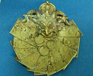Antique Occult Brass Devil Poker Cards Coins Ashtray Coin Tray Dish