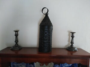 Early Antique Punched Pierced Tin Barn Candle Lantern Primitive