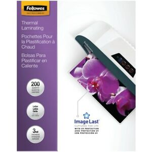 200 Pack Fellowes Imagelast Laminating Pouches Letter Size 3 Mil Uv Protection
