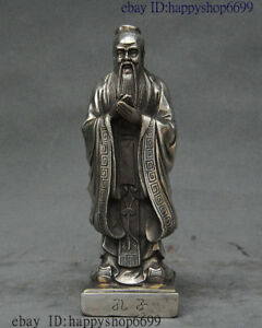 8 Old China Silver Thinker Politician Confucius Kongzi Hold Sword Stand Statue
