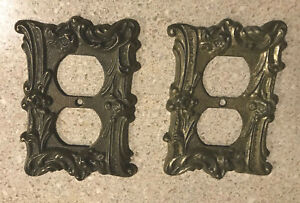 Vintage Brass Outlet Plate Cover Double Outlet Cover Unmarked Lot Of 2