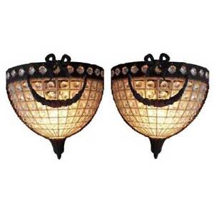 Pair Antique Replica Crystal Basket Bronze French Empire Dumi Lune Wall Sconces