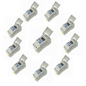 pack Of 10 new Din Rail Digital Lcd Power Programmable Timer Dc 12v 16a Time Sj