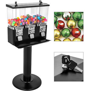 Triple Bulk Candy Vending Machine With Stand 3 Head Trivend Black For Shop