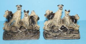 Antique Terrier Dog Hunting Dogs Cast Iron Bookends Circa 1920 S