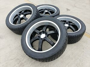 22 22x9 Boss 708 Ford F 150 Expedition Black Rims Wheels Tires 6x135