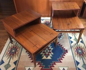 Mcm Lane Tuxedo Vintage Step Down Table Pair Mid Century Modern Walnut Mcm 1961