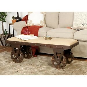Upholstered Rustic Industrial Vintage Cart Bench Linen Seat Wood Metal Casters