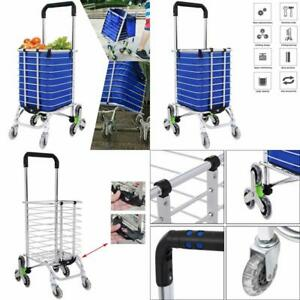 Folding Shopping Cart Heavy Duty Rolling Grocery Carts Reusable Utility Transit