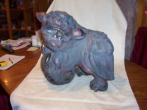 Antique Rare Chinese Foo Dog 1850s Male Solid Wood Carved Very Old
