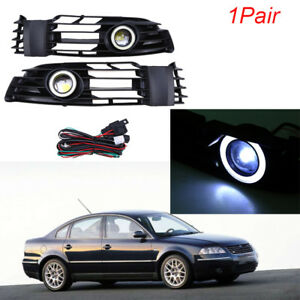 2x Front Grilles Angel Eyes Ring Fog Lights For Passat 4motion Santana 2001 2005