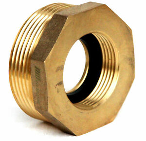Nni Fire Hydrant Brass Hex Adapter 2 1 2 Nst nh Male X 1 1 2 Nst nh Female
