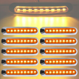 10x 9 Led Truck Trailer Clearance Side Marker Indicator Tail Reverse Stop Lights