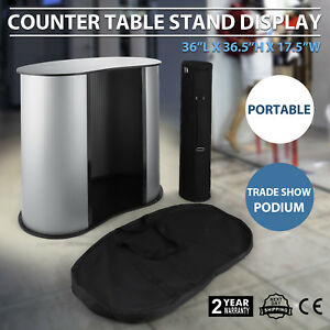 Podium Table Counter Stand Trade Show Display Oval Bean Promotion Retail W case