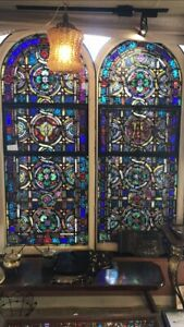 Old Leaded Stained Glass Church Window 6 Feet Tall Over 100 Years Old