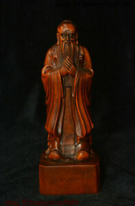 China Boxwood Famous Thinker Politician Confucius Kongzi Hold Sword Stand Statue