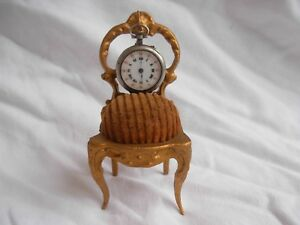 Amazing Antique French Gilt Spelter Pocket Watch Holder Late 19th Century