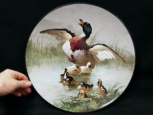 Large Antique Signed F B French Hand Painted Paris Porcelain Charger Ducks