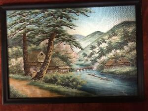 Old Fine Japanese Silk Bridge Houses Embroidery Tapestry Painting