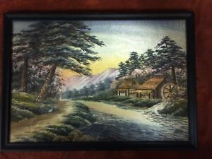 Old Fine Japanese Silk River Embroidery Tapestry Painting