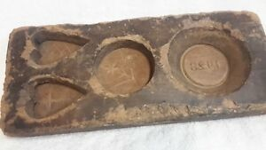 Antique Hand Carved Wooden Maple Sugar Mold Hearts Flowers Dated 1928