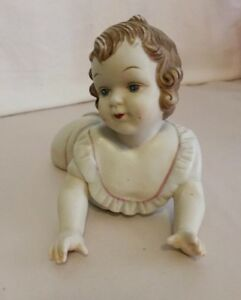 Crawling Girl Piano Baby Antique German Bisque Porcelain Figurine
