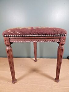Antique French Unusual Triangular Carved Footstool With Old Needlepoint Cover