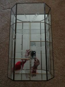 Vintage Brass Glass Mirrored Curio Display Cabinet 15 Tall Nice